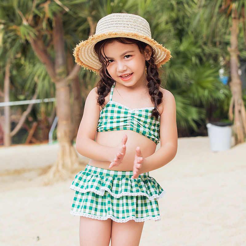 Комплект бикини для девочек; детский летний раздельный купальный костюм; купальный костюм в зеленую клетку с оборками; купальный костюм; пляжная одежда; Biquini