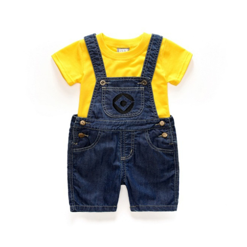 Children Clothing Set Baby Boys Clothes Suit Short Sleeve Tops+Short Jeans Pants Summer 2 PCs Little Kids Tees+Overall 1-7 Years children clothing set 2018 new baby girl motion suit child short sleeve leisure time twinset summer wear kids boys clothes