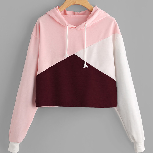 Autumn Women Cut Sew Panel Crop Hoodie Drawstring Crop Sweatshirt ...