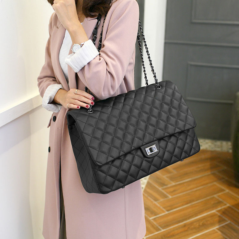 New Large Shoulder Bag Women Travel Bags Leather Pu Quilted Bag Female Luxury Handbags Women Bags Designer-15 quilted design pu shoulder bag
