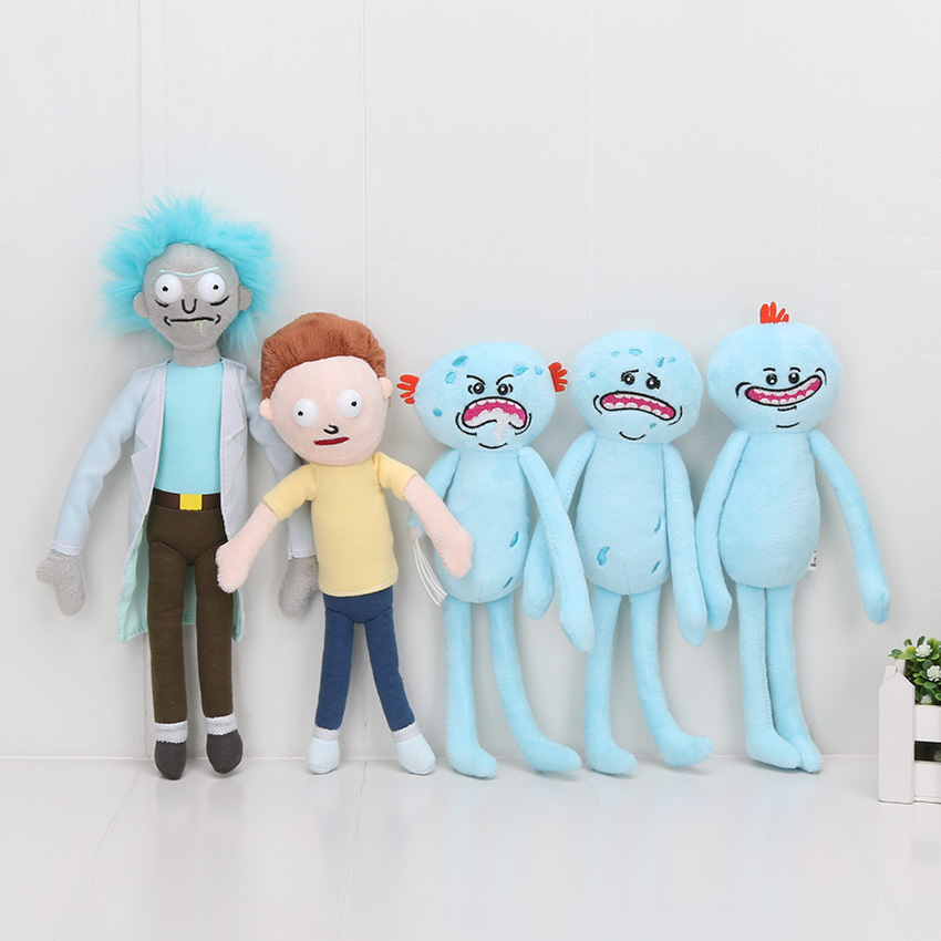 24cm-30cm Rick and Morty Happy Smile Sad angry foamy Meeseeks Stuffed Plush Toys Dolls 5styles can choose image