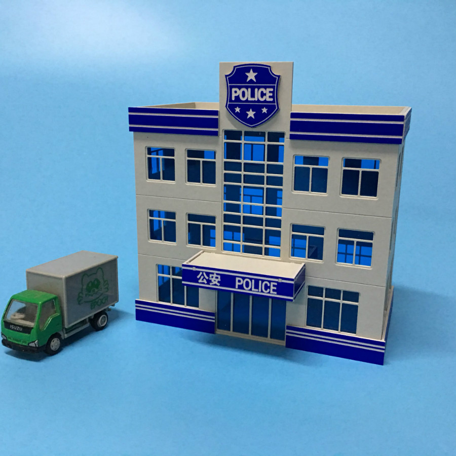 US $16 63 5% OFF|1/87 HO scale plastic police station for ho train model  sandbox construction assembling layout -in Model Building Kits from Toys &