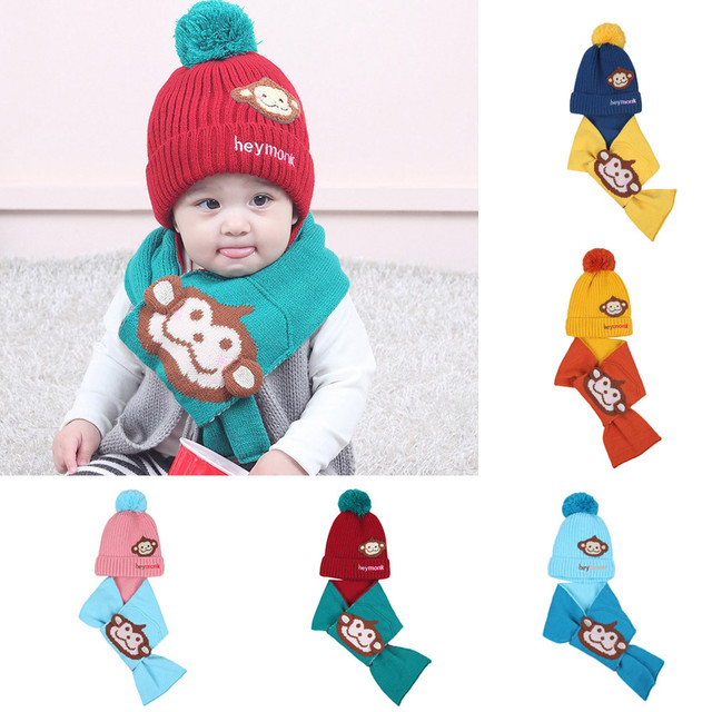 c3c2ad6a312 2Pcs Autumn Winter Baby Boys Girls Kids Cartoon Monkey Hat+Scarf set Child  Knitting Cotton Warm Hats Cap for 1-4 Years Old Kids