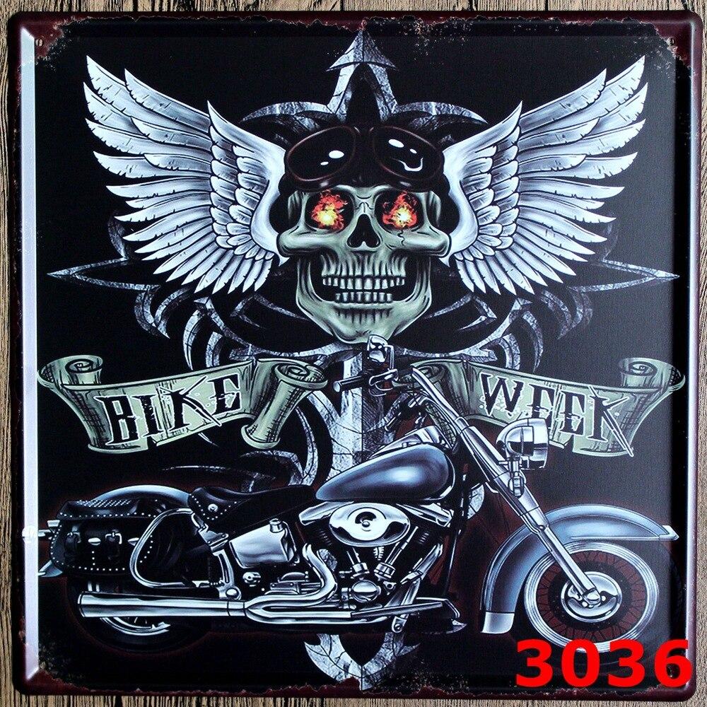 "New large size Vintage Metal painting\""BIKE WEEK Motorcye\""car <font><b>license</b></font> <font><b>plate</b></font> wall painting art fashion crafts decoration 30x30 cm"
