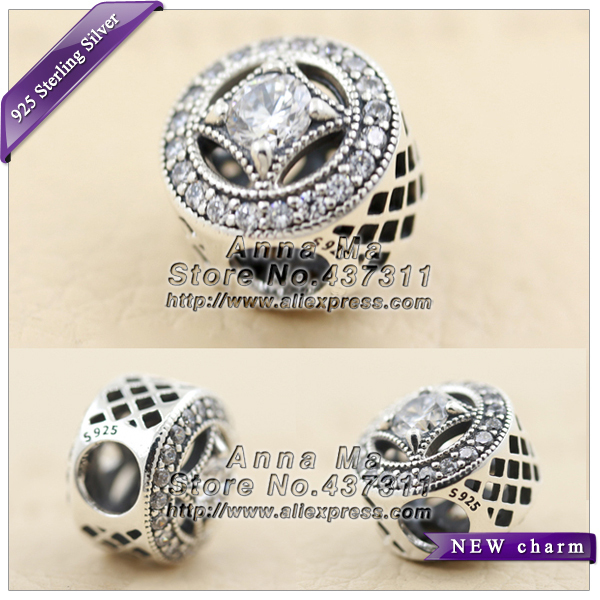 2016 Fall NEW S925 Silver Vintage Allure Open Work Charm With Clear CZ  Beads Fit European Jewelry charm Bracelets & Necklaces