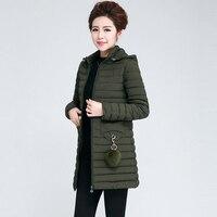 2018 New Fashion Army Green Parkas Jacket Women Thin Zipper Hooded Coat Casual Winter Warm Female Jackets Outwear Parka RE0936