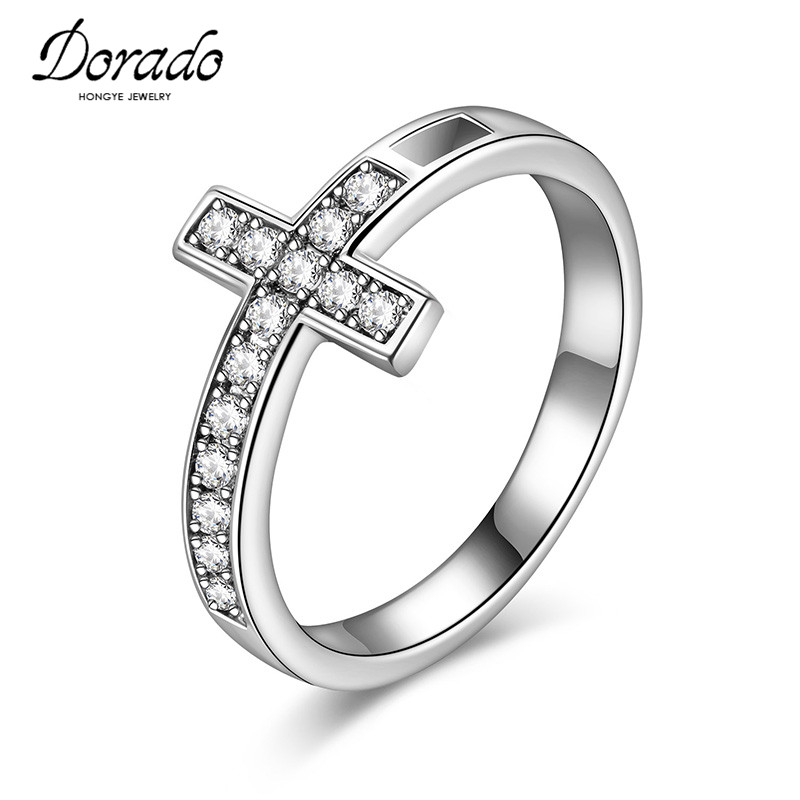 Dorado Cross Infinity Crystal anel bijoux Women Bagues Knuckle Finger Ring Statement Engagement Jewelry anillos Wedding Rings