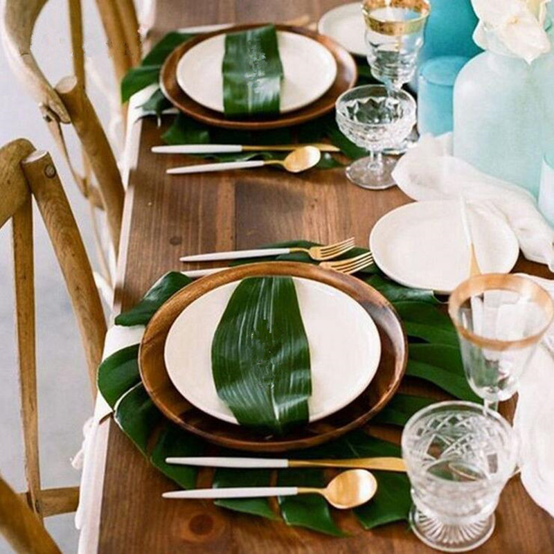 12Pcs Artificial Palm Leaves Table Cover Runner for Wedding Hawaiian Luau Theme Party Supplies Table Decoration Summer Party