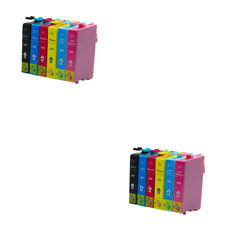 12 шт. T0481 T0486 чернильный картридж для Epson Stylus Photo R200 R220 R300 R300M R320 R340 RX500 RX600 RX620 RX640 принтер