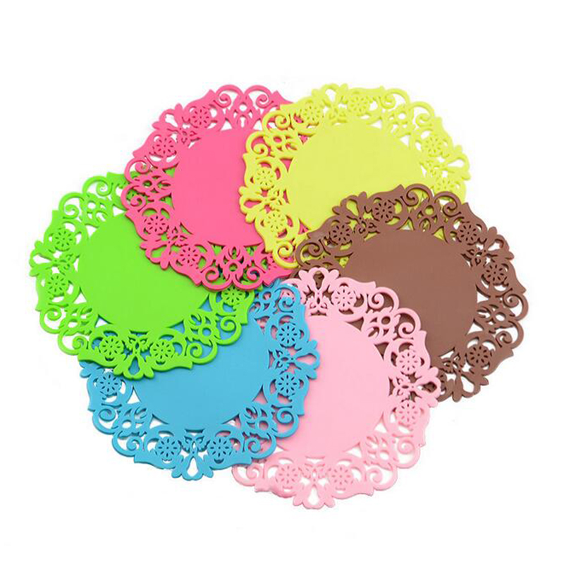 Europe 6pcs Lace Flower Doilies Silicone Coaster Coffee