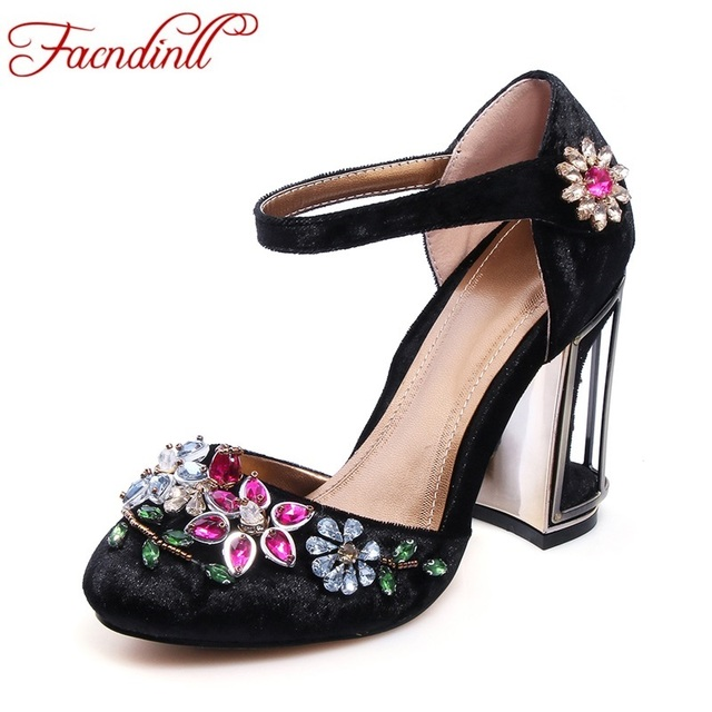 women pumps new 2017 spring rhinestones high heels lady party wedding shoes woman mary janes shoes for women dress dress shoes