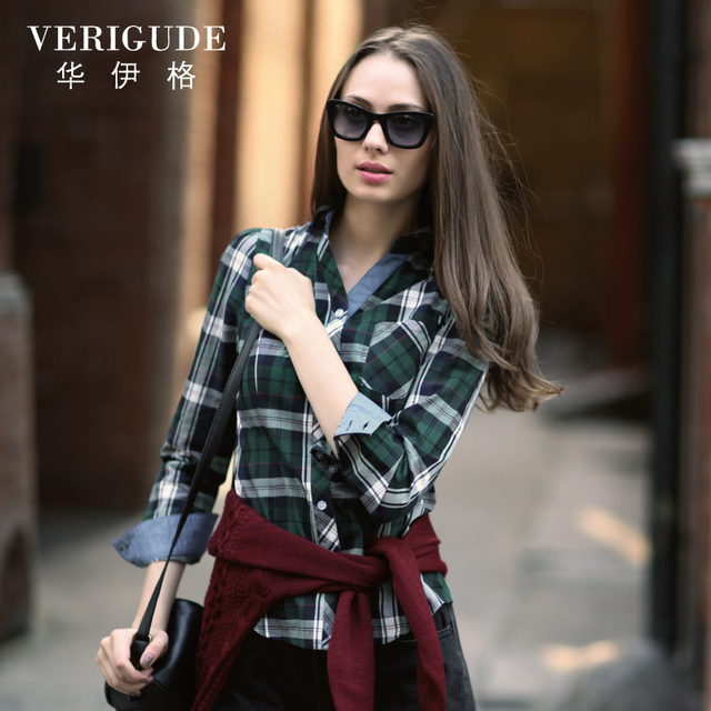 Veri Gude Women's Plaid Blouses Long Sleeve Shirt Cotton 4 Colors Free Shipping