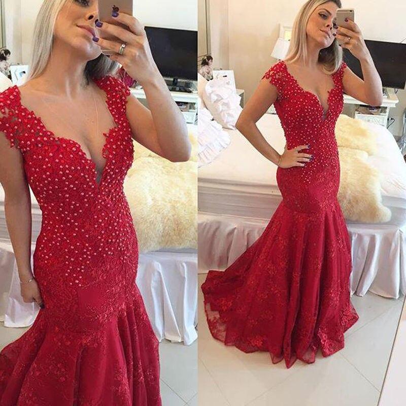 Sirena Vestidos de Noche 2017 Rebordear de Lujo Vestidos Formales 2017 Apliques
