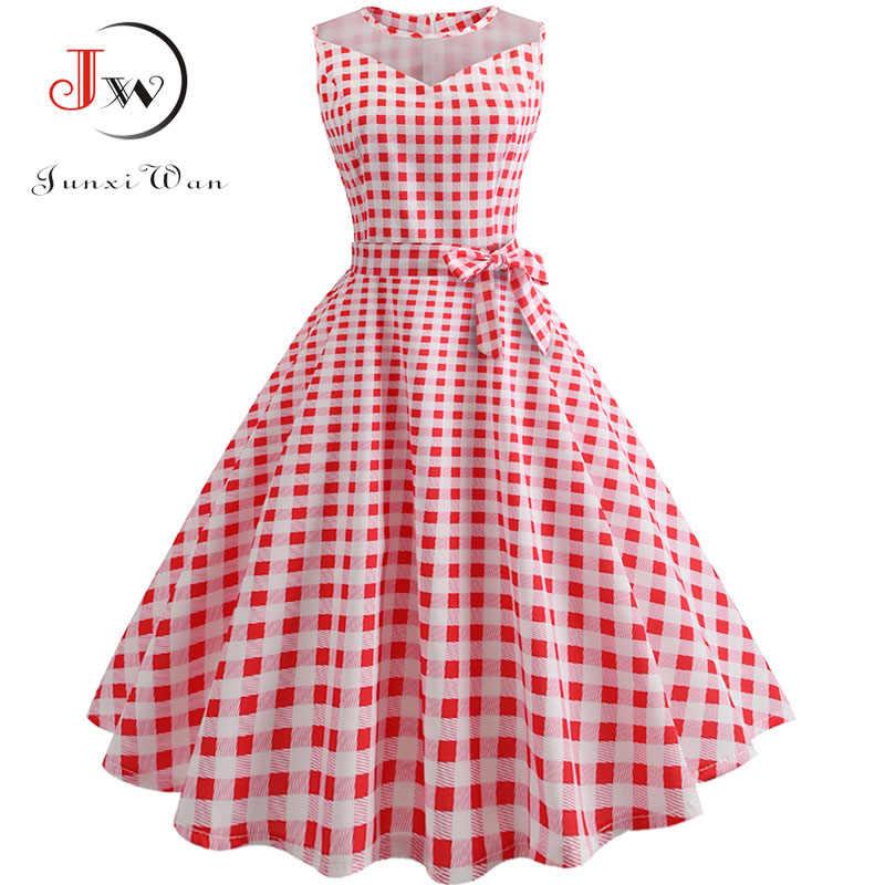 87482ff7ee2 Plaid Print Summer Dress Women Hepburn 50s 60s Vintage Dress Retro Swing  Rockabilly Elegant Party Dresses