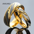 AMUMIU Casais Anéis de Aço Inoxidável para Mulheres Dos Homens Amantes do Aniversário do Noivado Alianças de Casamento De Ouro dele e dela promessa KR005