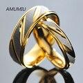 AMUMIU de acero inoxidable parejas anillos para los hombres las mujeres anillo de oro bandas de boda compromiso aniversario los amantes de su promesa y el suyo KR005