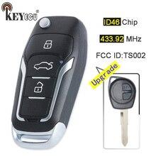 KEYECU 433.92 mhz ID46 Chip FCC ID: TS002 Atualizado Aleta Dobrar Botão Fob Chave Remoto para Suzuki Swift SX4 2 Vauxhall Agila b