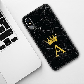 Custom name Letter Monogram Black Marble Gold Crown Soft Phone Case For iphone 2