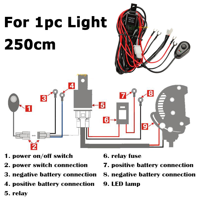 200 250cm LED Light Offroad Harness Wire Relay Kit Fit Fog Lamp Spotlight Work Light Bar how to wire up driving lights diagram roslonek net,Lamp Kit Wiring Diagram