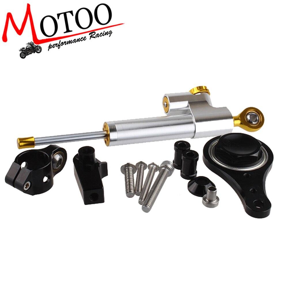Motoo - CNC Steering Damper complete Set for KAWASAKI ZX6R (636) 2005 06  w/ bracket kits cnc steering damper complete set for kawasaki zx6r 636 2007 2008 w bracket kits