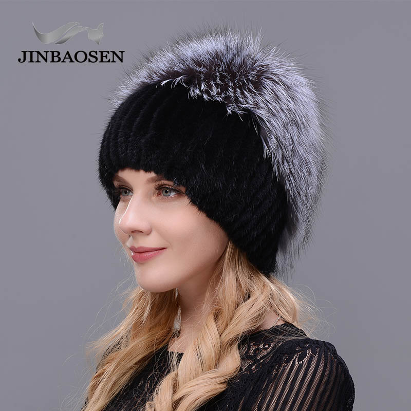 2019 Russian Fur  Woman Winter Fashion Real Fur Hat Mink Fur Rabbit Natural Fox Knit Wool Ski Hat Warm Ear Protection Travel Hat