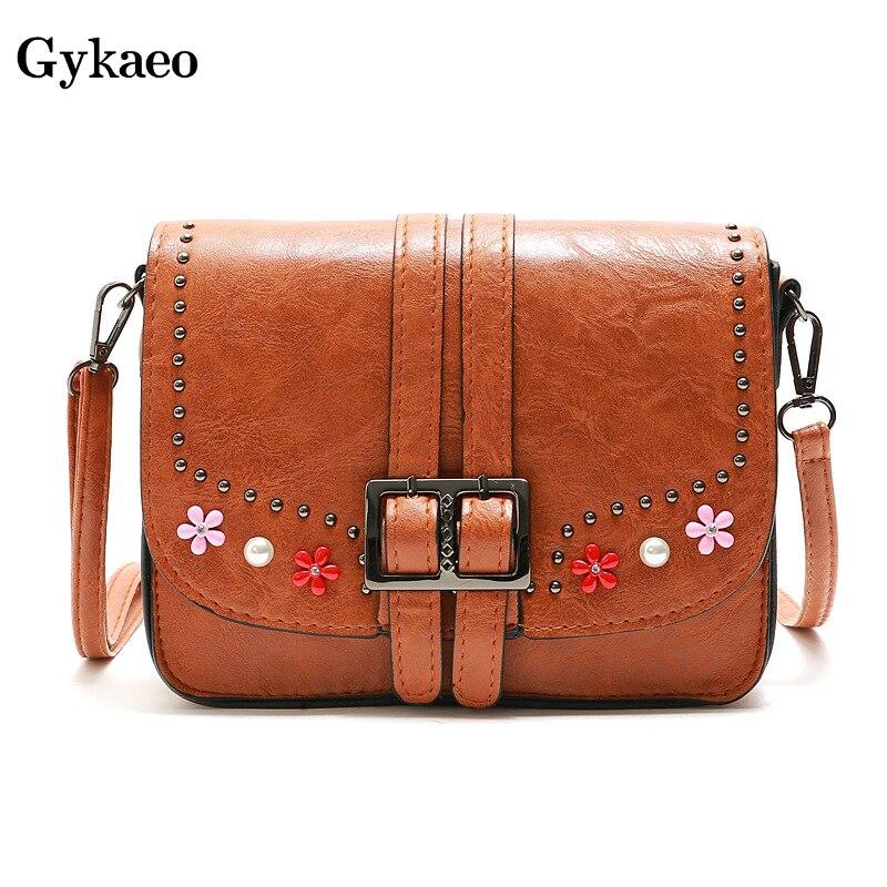 fb4b02c10 GYKAEO 2019 primavera mujer remache de cuero suave hombro Bolsos Mujer  bolsos marcas famosas Floral bolsa de mensajero Sac principal