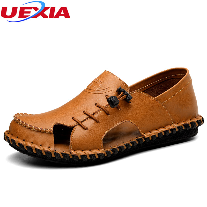 UEXIA Summer Mens Sandals High Quality Leather Mens Shoes Slippers Beach Flats Casual Shoes Chaussure Homme Zapatillas Hombre