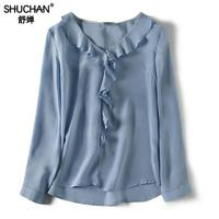 Shuchan 100% Natural Silk Ol Women's Shirt With Long Sleeve V neck Ruffles Womens Tops And Blouses 2019 Top Female blue pink