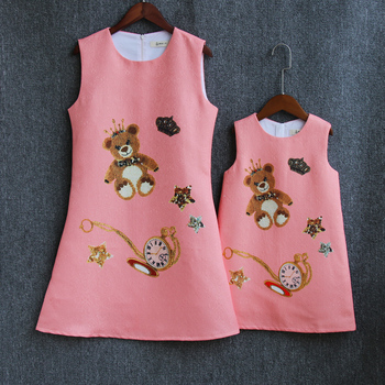 Spring family look clothes children fashion sleeveless bear print mom kids baby girl vest dress mother daughter matching dresses