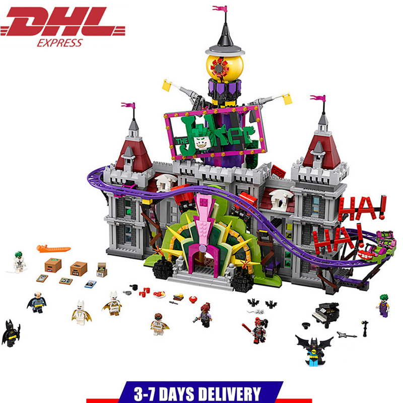 LEPIN Super Heroes The Joker`s Manor Building Blocks Sets Kits Bricks Movie DC Batman Model Kids Toys Marvel Compatible Legoings moc 1128pcs the batman movie bane s nuclear boom truck super heroes building blocks bricks kids toys gifts not include minifig