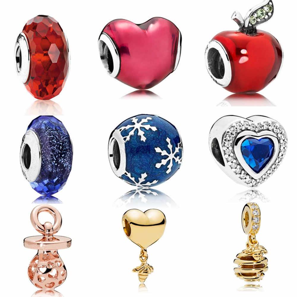 AIFEILI złota pszczoła wisiorek naszyjnik DIY nadaje się do Pandora bransoletka biżuteria europejski urok dziewczyna osobowość koralik miłość czerwony