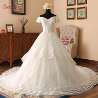 TaooZor Vestido De Noiva Short Sleeve Princess Wedding Dresses 2017 Illusion Appliques Beaded Lace A Line