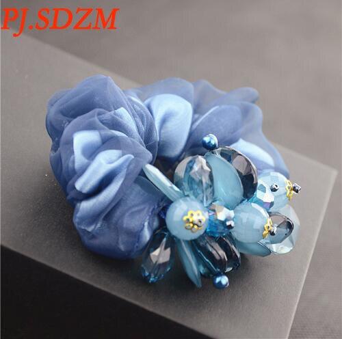 9334d7198 PJ.SDZM Korea Women Fashion Rope Rubber Headwear Pearl and Flower ...