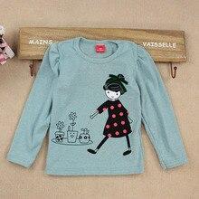 купить Fashion Baby Kid Long Sleeve Girls T-shirt Cartoon Print Shirt Tops Clothes Girls Blouse T-Shirt по цене 226.37 рублей