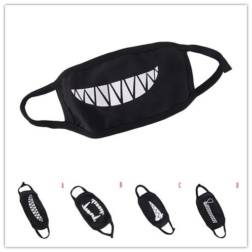 New 1PCS Black Cotton Dustproof Mouth Face Mask Cartoon Kpop Women Men Muffle Cute Unisex Face Mouth Masks