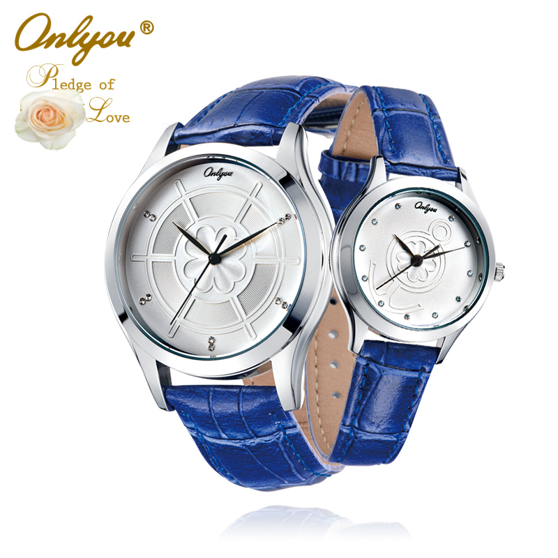 Onlyou Brand Lovers Watches Anchor Rhinestones Saat Wrist Watch For Women Men Quartz Leather Ladies Watch