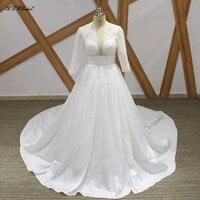 Romantic Long Train Satin Wedding Dress Open Back Long Sleeve Pearls Lace Custom Made Bridal Wedding