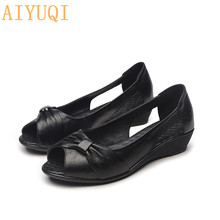 AIYUQI Women sandals flat 2019 new summer genuine leather open toe women bow casual mom loafers for