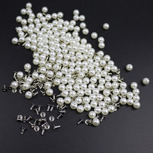 200PC 6MM Imitation Pearl Rivets DIY Garment Accessories Pearl Rivet Spikes For Cloth Hat Bag Crafts Decor Rivets and Pearls Set(China)