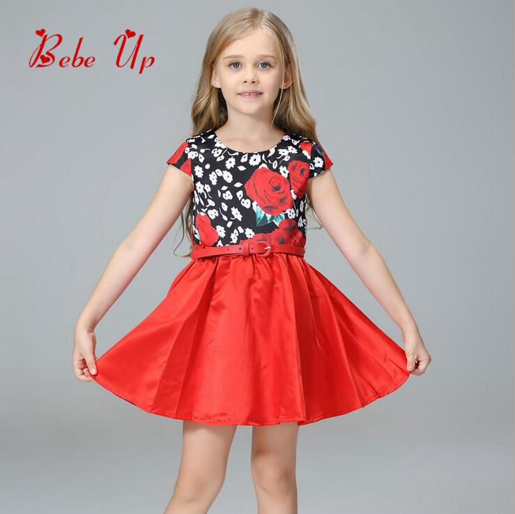 Children Flower Floral Clothing Kids Girls Baby O-Neck Short Sleeve Summer Ruched Leather Sashes Dress Toddler Princess Clothes