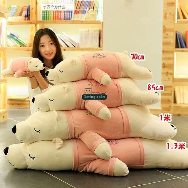 cbcf320a363 Dorimytrader Pop Lovely Soft Fat Anime Polar Bear Plush Pillow Big Stuffed  Animals White Bear Toy Doll Gift 80cm 100cm 130cm