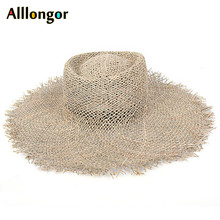 Natural Grasses Fashion 2020 Breathable Summer Hat Women Straw Beach Sun Hats Wide Brim Sunhat chapeau femme ete Dropshipping