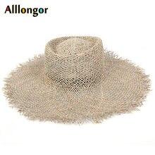 Natural Grasses Fashion 2021 Summer Hat Women Straw Beach Visor Protection Sun Hats Wide Brim Sunhat Chapeau Femme Dropshipping