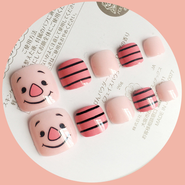Cute pink pig cartoon pattern false nails for toe 24pcs short size ...