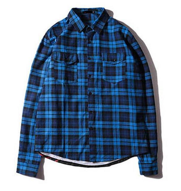 78ad03fcea2 Long Hip Hop Plaid Shirts Mens Shark Print Long Sleeve Dress Jacket Shirt  Blue Checkered Casual Cotton Flannel Shirt Streetwear