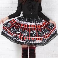 Đáng sợ Pumpkin In của Phụ Nữ Váy Punk Lolita Công Chúa Ngọt Ngào Đỏ Đen Cô Gái Trẻ Halloween Chút Quỷ Xếp Li Sọc Váy