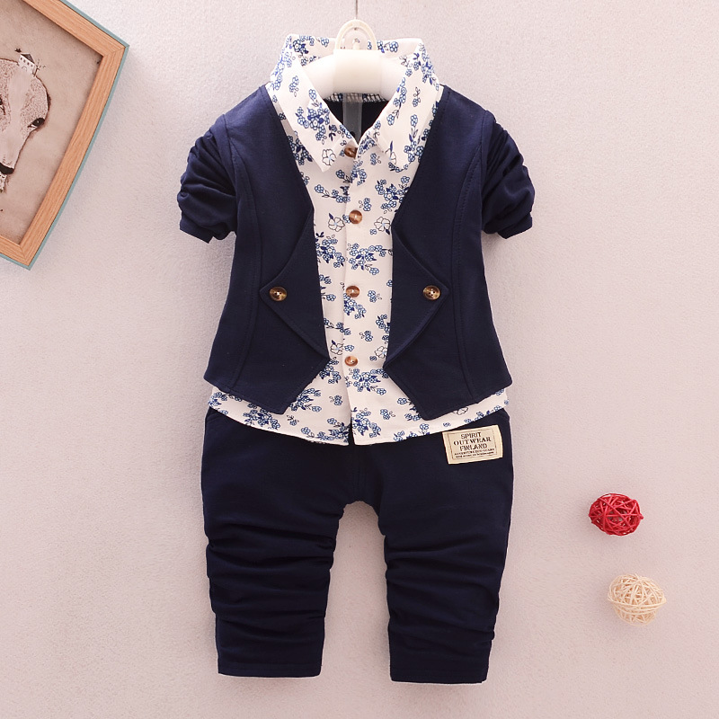BibiCola baby boys clothing sets infant spring autumn toddler long sleeves+pants 2pcs suit set newborn bebe 2018 outfits bibicola autumn baby boys clothing set gentleman outfits infant tracksuit 3pcs plaid t shirt pants vest sets bebe sport suit