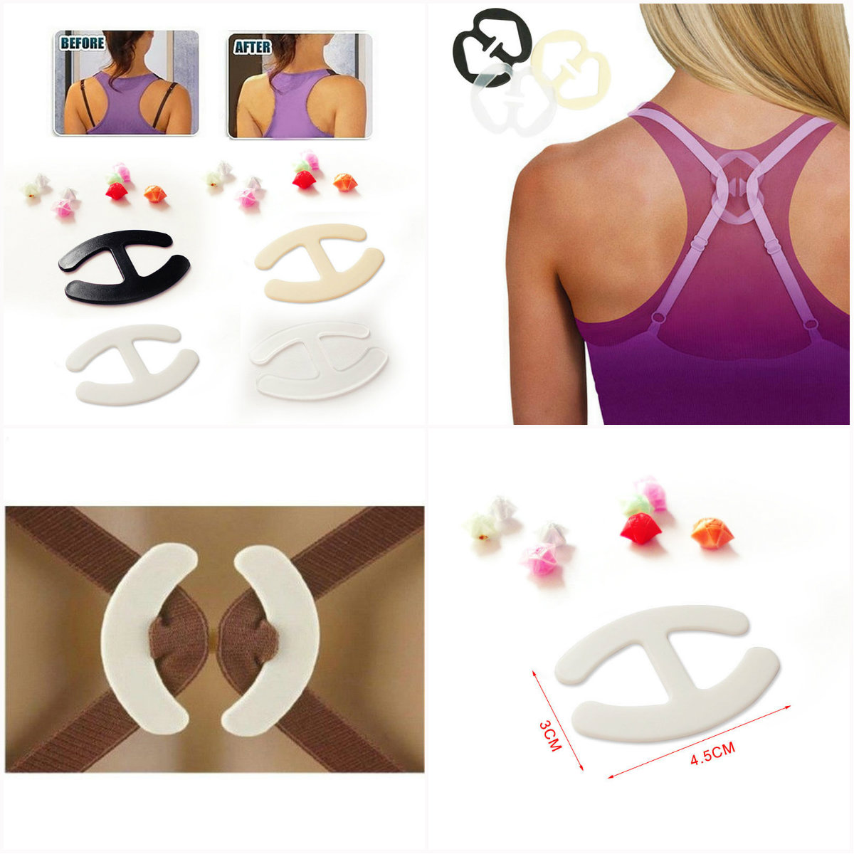 3pcs/lot H-shaped Colorful Invisible Bra Buckle Clips Perfect Adjust Wedding Bra Strap Clip Holder Underwear Accessories