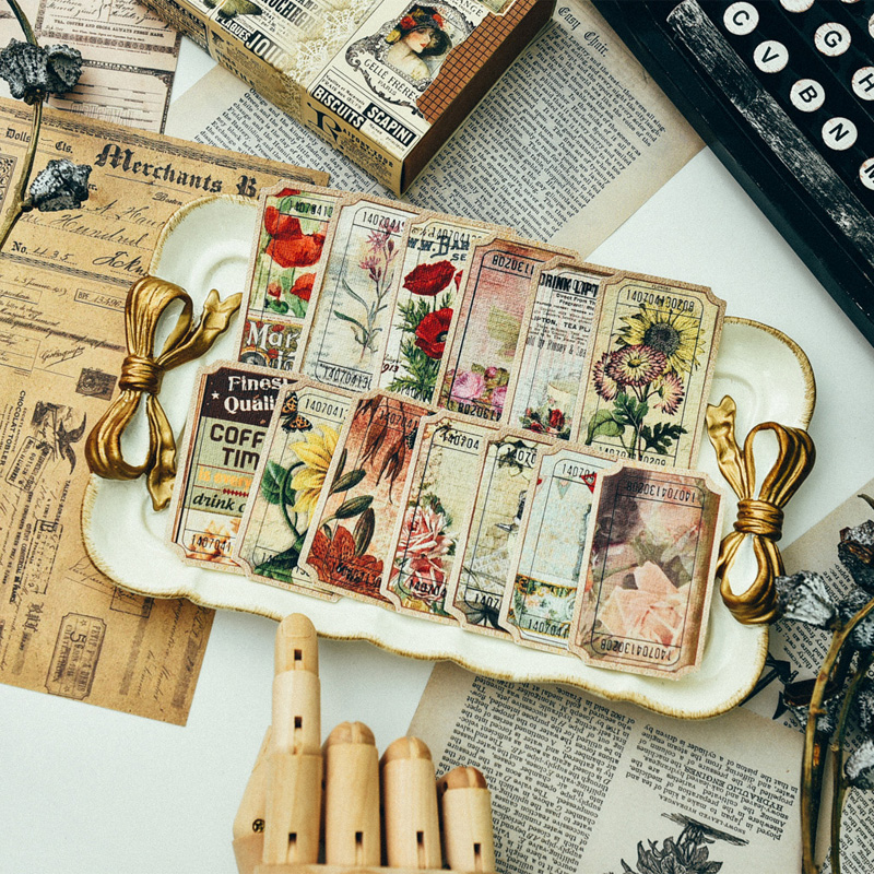 Vintage Retro Style Sticker Sheets Scrapbooking Paper Craft Art Project Supplies