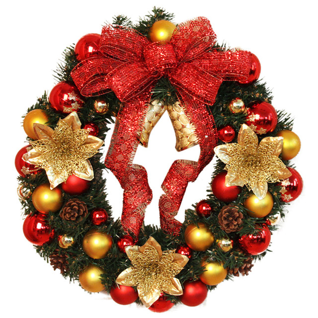 merry christmas wreath 40cm garland window decorations bowknot ornament hot christmas decorations for home 2017 door